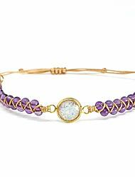 cheap -purple beaded bracelet stone healing stones meditation bracelet power healing crystal bracelets for clearing chakra (design 1)