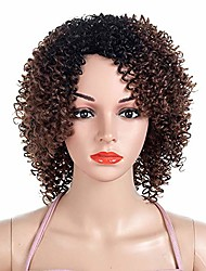 cheap -kinky curly natural short afro wig black to silver grey ombre color synthetic heat resistant fiber hair for women