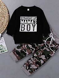 cheap -Baby Boys' Active Print Print Long Sleeve Regular Regular Clothing Set Black