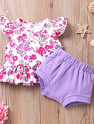 cheap -Baby Girls' Basic Print Sleeveless Short Clothing Set Purple