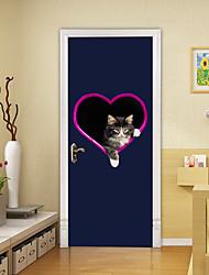 "cheap -2pcs Self-adhesive Creative Love Cat Door Stickers For Living Room Diy Decorative Home Waterproof Wall Stickers 30.3""x78.7""(77x200cm), 2 PCS Set"