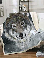 cheap -Microfiber Throw Blanket All Season For Couch Chair Sofa Bed Picnic 3D Print Wolf Animals Soft Fluffy Warm Cozy Plush Autumn Winter
