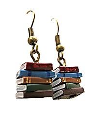 cheap -classic stack of books drop dangle earrings librarian teacher easy hook clay for women girl creative novel teach graduation jewelry