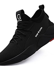 cheap -Men's Lightweight Steel Toe Cap Safety Trainers Trendy Sneakers Slip Resistant Flyknit Suede Spring Summer