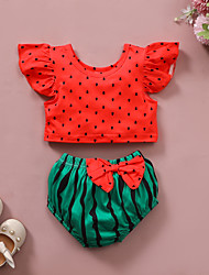cheap -Baby Girls' Basic Print Bow Short Sleeve Regular Clothing Set Red