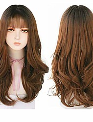 cheap -ebingoo 22 inch brown wig with bangs lolita wigs synthetic hair natural long straight wig for women for any occasion…