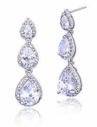 cheap -cubic zirconia bridal earrings silver - elegant sterling silver teardrop cz wedding party prom earrings for bride bridesmaids crystal rhinestone diamond zircon dangle drop earrings for women girls