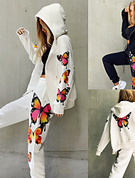 cheap -Women's Sweatsuit 2 Piece Full Zip Drawstring Hoodie Butterfly Sport Athleisure Clothing Suit Long Sleeve Breathable Soft Comfortable Everyday Use Street Casual Daily Outdoor