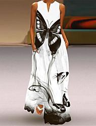 cheap -Women's A Line Dress Maxi long Dress Ash Blue Purple Yellow White Black Sleeveless Butterfly Flower Print Fall Summer V Neck Vintage Style Elegant 2021 S M L XL XXL XXXL 4XL 5XL