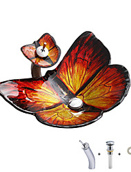 cheap -Red butterfly shaped tempered glass wash basin with waterfall faucet basin holder