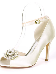 cheap -Women's Wedding Shoes Stiletto Heel Peep Toe Satin Rhinestone Pearl Solid Colored White Red Champagne