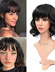 cheap -jiarosi short curly wigs with bands for black woman,bob wavy wigs black mixed brown soft natural heat resistant fiber synthetic wig for daily cosplay (t2/30)