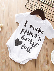cheap -Baby Girls' Basic Print Print Short Sleeves Romper White