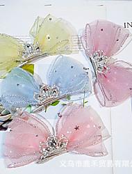 cheap -Kids Baby Girls' South Korea Ins New Duckbill Clip Children Anti-Rust Fairy Seersucker Rhinestone Crown Three-Dimensional Bow Hairpin