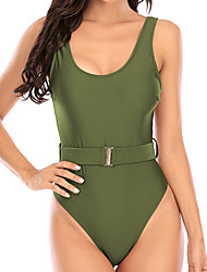 cheap -Women's One Piece Monokini Swimsuit Tummy Control Solid Color Yellow Army Green Swimwear Padded V Wire Bathing Suits New Casual Sexy