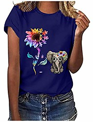 cheap -womens sunflower elephant print short sleeve tops bee kind puzzle graphic tee shirt be kind autism t shirt funny blouse blue