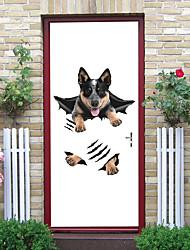 "cheap -2pcs Self-adhesive Creative Cute Shepherd Dog Door Stickers For Living Room Diy Decorative Home Waterproof Wall Stickers 30.3""x78.7""(77x200cm), 2 PCS Set"