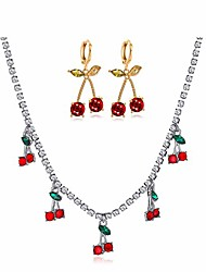 cheap -cherry tennis link chain necklace hoop earring set bling iced out crystal cherry pendent necklace hip hop choker cherry shiny crystal clavicle for women girls jewelry(b)