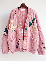 cheap -Women's Casual Embroidered Pocket Button Letter Cardigan Long Sleeve Sweater Cardigans V Neck Fall Winter Red Blushing Pink Apricot