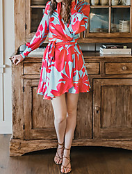 cheap -Women's A Line Dress Knee Length Dress Red Long Sleeve Solid Color Spring Summer Casual / Daily 2021 S M L XL XXL