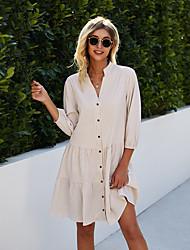 cheap -Women's Shirt Dress Knee Length Dress Blue Apricot Long Sleeve Print Spring Summer 2021 S M L XL
