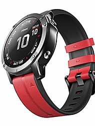 cheap -smartwatch band leather strap for garmin fenix 5 / fenix 5 plus / fenix 6 / fenix 6 pro / forerunner 935/945 22mm quick-fit replacement smartwatch band (red)