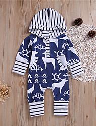 cheap -Baby Boys' Romper Basic Cotton Blue Print Print Long Sleeve / Summer