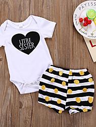 cheap -Baby Girls' Active Polka Dot Print Short Sleeve Regular Regular Clothing Set White
