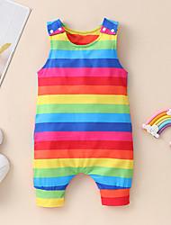 cheap -Baby Girls' Overall & Jumpsuit Basic Cotton Rainbow Patchwork Sleeveless / Summer