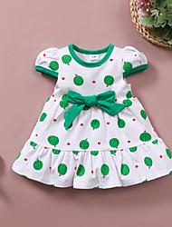cheap -Baby Girls' Active Polka Dot Bow Print Short Sleeve Knee-length Dress Green