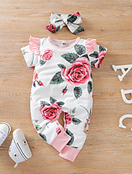 cheap -Baby Girls' Children's Day Romper Active White Tropical Leaf Rose Floral Print Short Sleeves / Summer