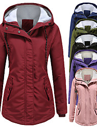 cheap -women's rain jacket ski jacket hooded fleece parka raincoat trench coats windbreaker waterproof windproof thicker breathable thermal warm mountain outdoor casual travel winter jacket