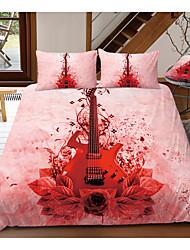 cheap -Print Home Bedding Duvet Cover Sets Soft Microfiber For Kids Teens Adults Bedroom Rock Red Guitar Flower 1 Duvet Cover 1/2 Pillowcase Shams