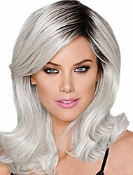 cheap -sootop short curly kinky wigs fashion synthetic micro-volume wave black silver gray women's natural hair soft & smooth heat resistant cosplay daily party comfortable & adjustable