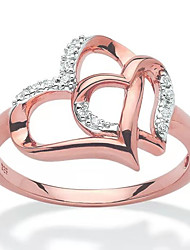 cheap -double heart ring hollow diamond ring love proposal ring fashionable simple heart-to-heart  jewelry