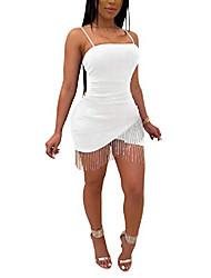 cheap -lkous women sexy wedding spaghetti straps dress sleeveless backless tassels bodycon pencil mini dresses cocktail white