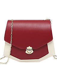 cheap -Women's Bags PU Leather Crossbody Bag Chain Color Block Classic Fashion Shopping Daily 2021 Black Blue Red Blushing Pink