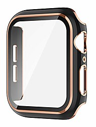 cheap -Smart watch Case compatible apple watch 40mm built-in tempered glass screen protector rose gold edge black bumper full coverage hd clear protective film cover iwatch  series 6/5/4/se