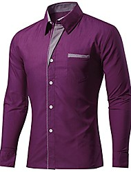 cheap -sidiou group men shirts long sleeve casual slim fit formal shirt plain office dress shirts for mens button down shirts (purple, asia 2xl=us l)