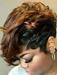 cheap -xiufaxirusi short wavy pixie cut wigs black and brown synthetic wig hair thanksgiving wigs heat resistant replacement wigs for women