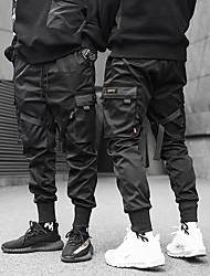cheap -Men's cargo pants streetwear trousers joggers pants Casual Harem Ankle Harem Pants with Pocket sports&outdoor techwear matte black pants relaxed fit