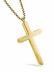 """cheap -555jewelry brushed stainless steel yellow gold cross necklace for women, womens cross necklace, cross necklace for girls, cross pendant for women - 20"""" chain"""
