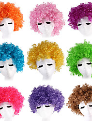 cheap -halloween cos children fluffy color fans hair adult cos multicolor afro performance clown fake found goods
