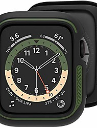 cheap -Smart watch Case compatible for apple watch case 44mm, loxoto bicolor bumper case cover protective drop shock resistant case tpu flexible cover fit for iwatch 6/se/5/4 stylish design  (black & olive)