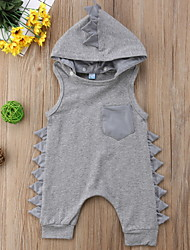cheap -Baby Boys' Basic Solid Colored Patchwork Sleeveless Romper Black Gray