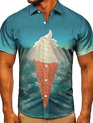 cheap -Men's Shirt 3D Print Graphic Prints Ice Cream Button-Down Short Sleeve Street Tops Casual Fashion Classic Breathable Blue