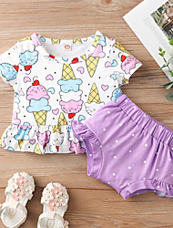 cheap -Baby Girls' Active Print Short Sleeve Short Clothing Set Purple