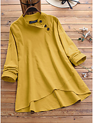 cheap -Women's Plus Size Tops Blouse Shirt Plain Button Long Sleeve Spring Summer Yellow Royal Blue Big Size L XL XXL XXXL 4XL