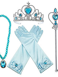 cheap -Kids Baby Girls' Frozen Aisha Crown Magic Wand Gloves Necklace Earrings Hairpin Set Girls Party Clothing Accessories