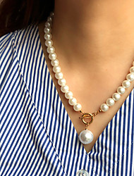 cheap -Pearl Pendant Necklace Beaded Necklace Beads Simple Basic Fashion Vintage Imitation Pearl Alloy Picture color 45 cm Necklace Jewelry 1pc For Gift Prom Birthday Party Beach Festival